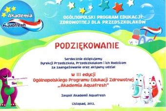 podziekowanie-3edycja-akademia-aquafresh2013